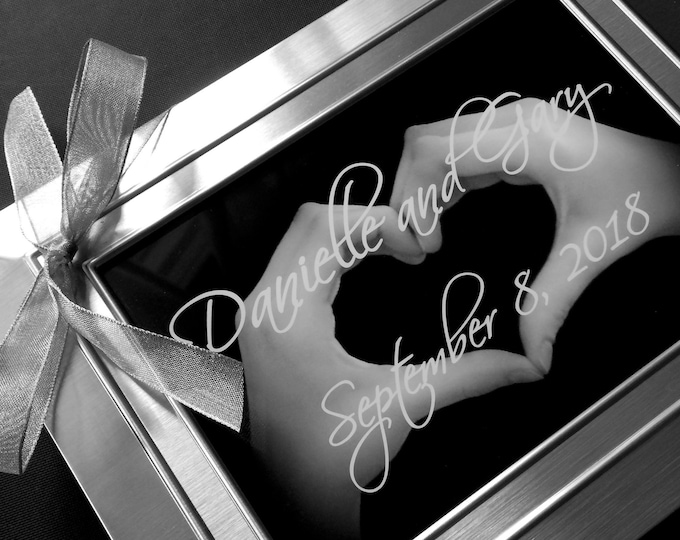 HEART HANDS Personalized Engagement or WEDDING 5x7 Print - Custom Order for the Happy Couple - Ready to Frame