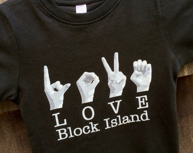 ASL LOVE Block Island Destination Tee Shirt - American Sign Language - Cotton T shirt - LAT Apparel - Ladies Tees s, m, l, xl, xxl