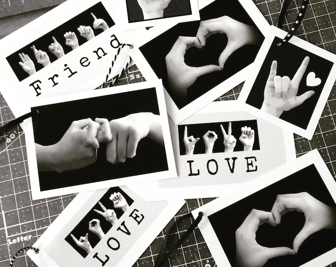 ASL FRIEND Gift Tags - American Sign Language - LOVE - Heart Hands - Assortment of 8 Tags
