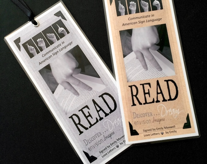 ASL READ American Sign Language Laminated Bookmark - Inspirational Quotes - Buy 5 and Get One Free