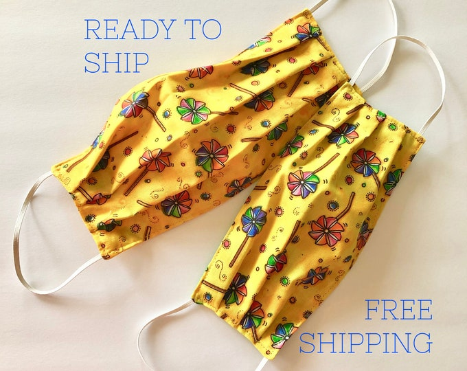 2 Face Masks | Adult and Child set | Cotton Fabric | Reversible | Reusable & Washable | Ready to Ship | FREE SHIPPING | Made in USA
