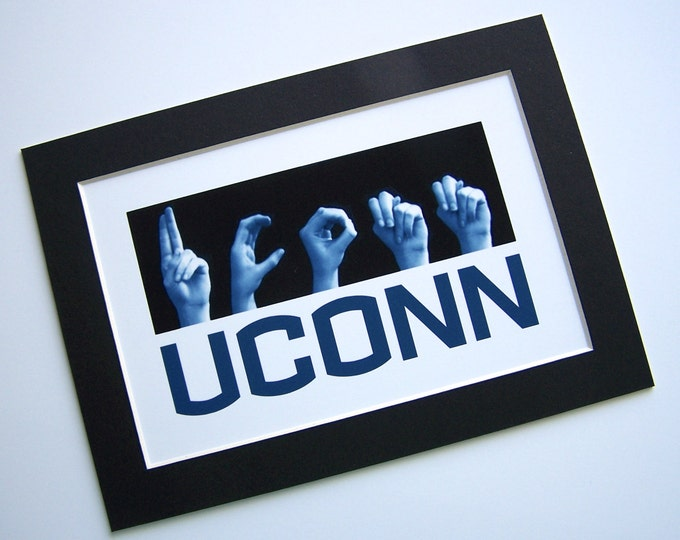 University of Connecticut - UCONN -  ASL Sign Language Letters - College Graduation Gift - Dorm Decor