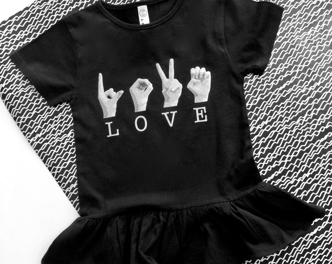 ASL Girls LOVE Ruffle Tee Shirt - American Sign Language - Cotton T shirt - LAT Apparel - Girls Tees xs, s, m, l - Little Black Tee