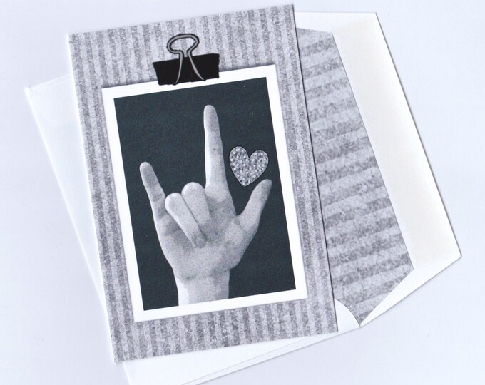 ASL I Love You American Sign Language - B&W Clipboard Blank Note Card - LOVE