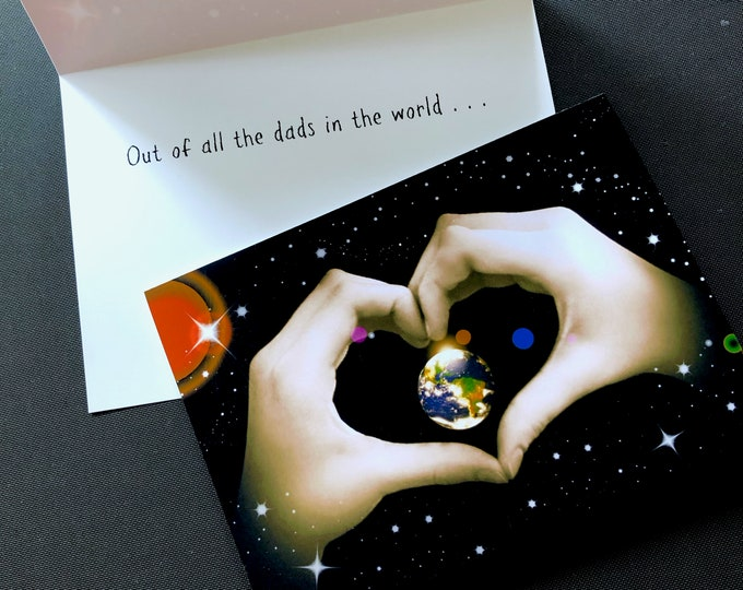 Father's Day Card - EARTH Heart Hands - Suitable for Framing - Out of All the Dad's in the World ... Write Your Own Message