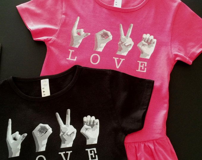 ASL Girls LOVE Ruffle Tee Shirt - American Sign Language - Cotton T shirt - LAT Apparel - Girls Tees xs, s, m, l - Pink and Black