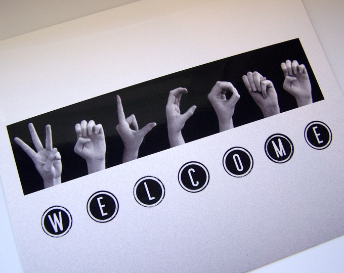 WELCOME sign - ASL Sign Language Letters - Black & White Typewriter Keys - 8x10 Photo Print ready for DIY framing