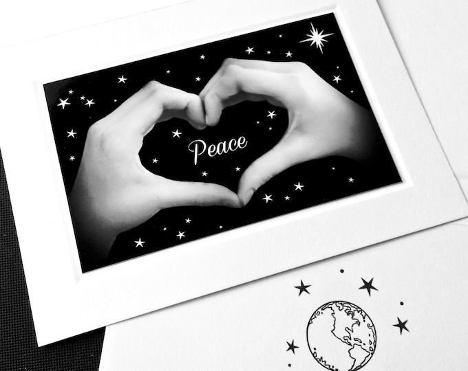 PEACE on EARTH Heart Hands Sign Language Card - Black & White Photo - Holiday and New Year's Card - Individual Greeting Cards and Boxed Sets