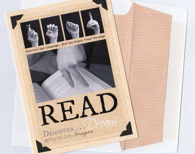 ASL READ American Sign Language - 5x7 Folded Blank Note Card - Inspirational Quotes - Book Theme