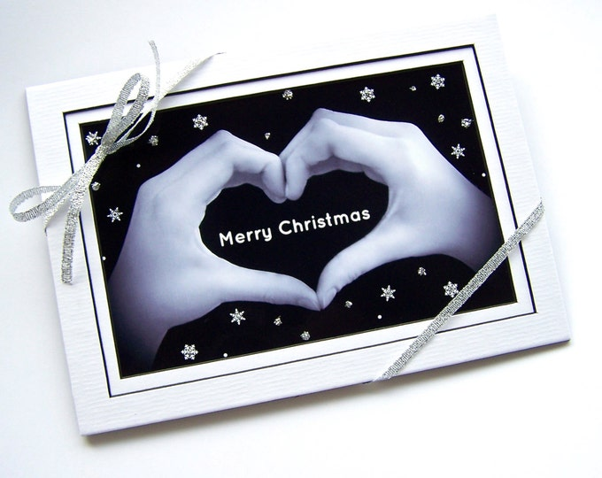 MERRY CHRISTMAS Sign - Heart Hands and Snowflakes - Black & White Digital Photograph - 5x7 matted print with optional black wooden easel