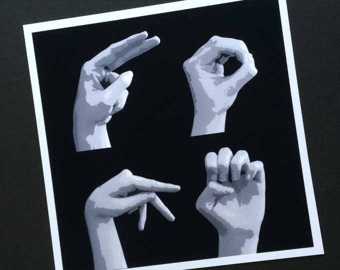 HOPE - ASL American Sign Language Letters - Black & White Art - Square Format Print - Ready to Frame