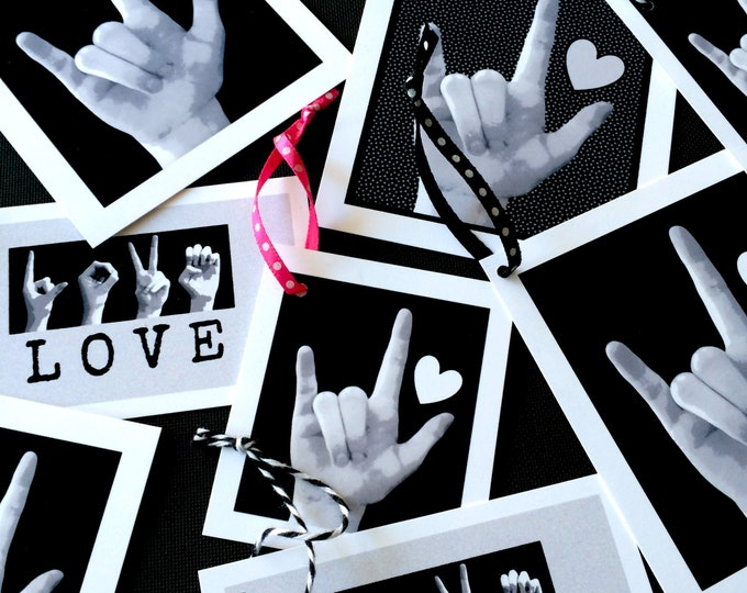 ASL I Love You Gift Tags - American Sign Language - LOVE - Assortment of 8 Tags