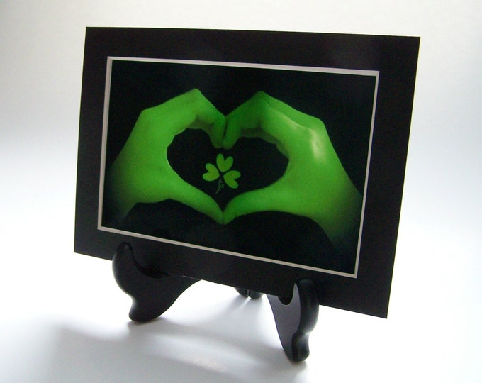 St. Patrick's Day Black & White and GREEN Heart Hands with SHAMROCK 5 x 7 Matted Print with Black Wooden Display Easel