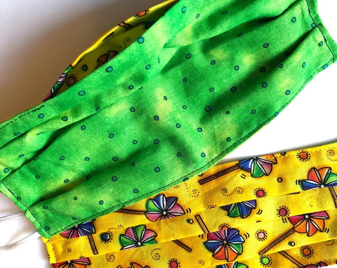 Child Fabric Filter Pocket Face Mask - Ready to Ship - 2 Layer - Reversible  - 100% Cotton - Washable - Reusable - Free Shipping