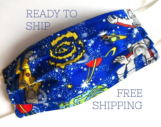 Astronaut Spacewalk Print Face Mask | Adult and Child Size | Breathable Cotton Fabric | Reusable & Washable | Ready to Ship | FREE SHIPPING