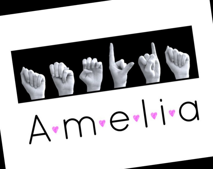 ASL Alphabet Name in American Sign Language - Custom Order -  Black & White Photo Art with PINK HEARTS