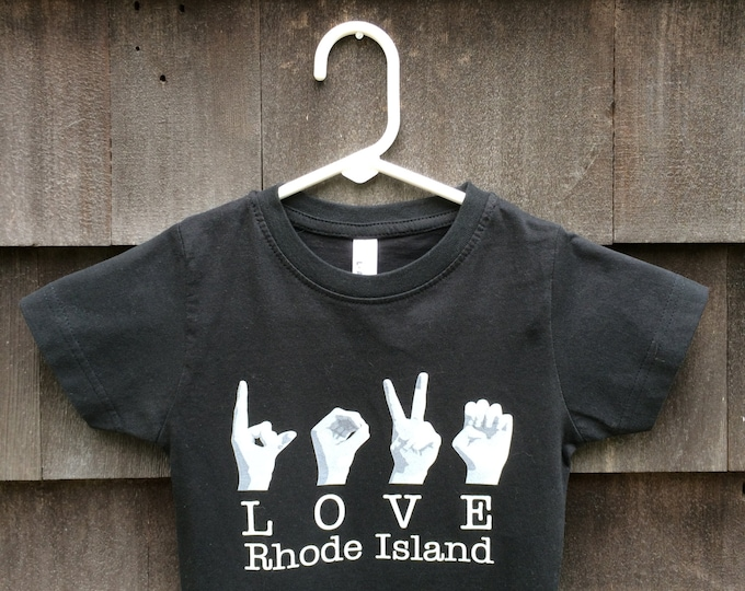 ASL LOVE Rhode Island Destination Tee Shirt - American Sign Language - Cotton T shirt - LAT Apparel - Ladies Tees s, m, xl, xxl