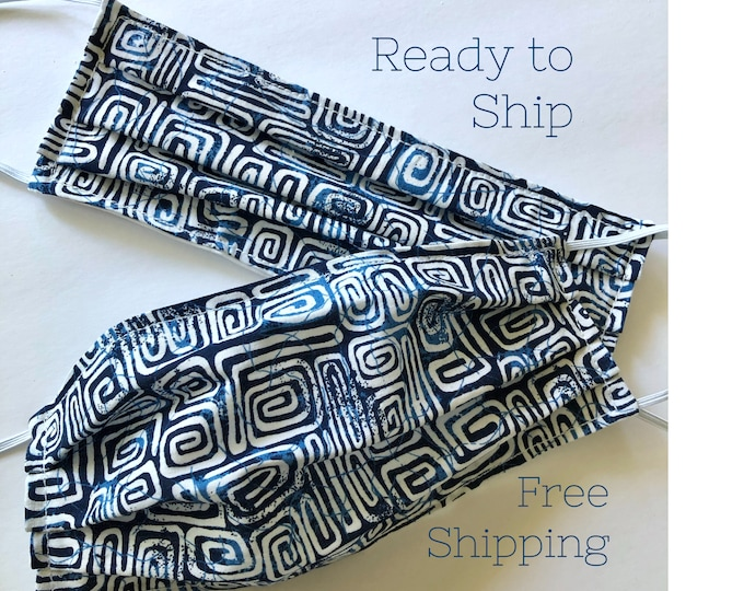 Blue Batik Design Face Mask | Heart Hands Card | Cotton Fabric Reusable & Washable | Nose Strip | Adult Unisex | Free Shipping | Made in USA