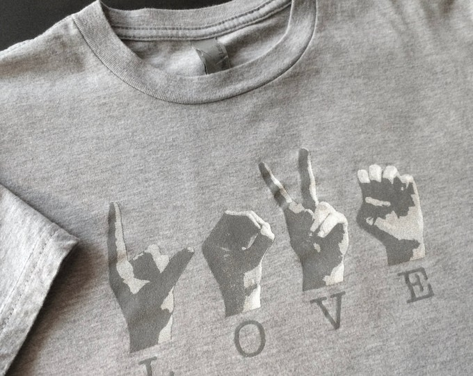 GREY Unisex ASL LOVE American Sign Language Tee Shirt - Next Level - Cotton  T shirt - Small