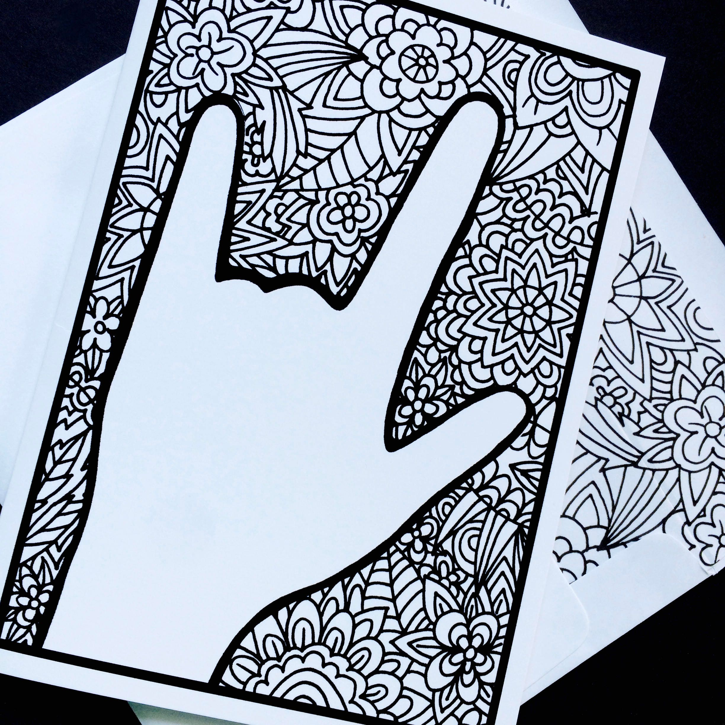 Asl I Love You Floral Zentangle Notecard American Sign Language