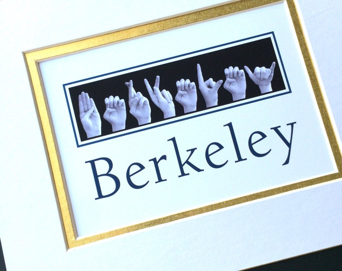 ASL Alphabet COLLEGE Custom Order University Name Sign Language 5x7 Print in 8x10 Mat - School Graduation Gift