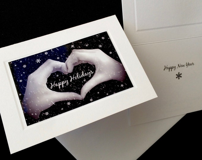 HAPPY HOLIDAYS Heart Hands Sign Language Card - Black & White Photo - Holiday and New Year's Card - Individual Greeting Cards and Boxed Sets