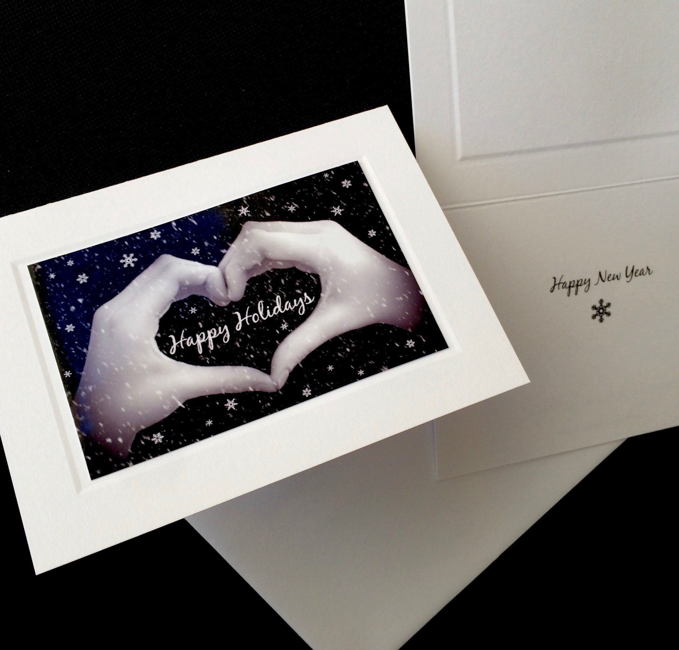 happy holidays heart hands sign language card black white photo holiday and new years card individual