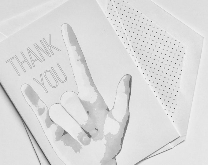 ASL I Love You Thank You Card - American Sign Language - 5x7 or 3.5x5 - Blank Notecard