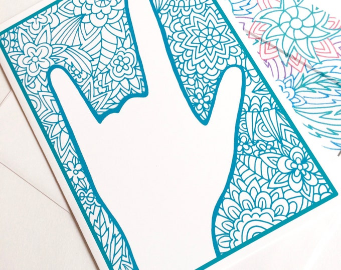 ASL I Love You BLUE Floral Zentangle Notecard - American Sign Language -  5x7 - Suitable for Framing - Greeting Card