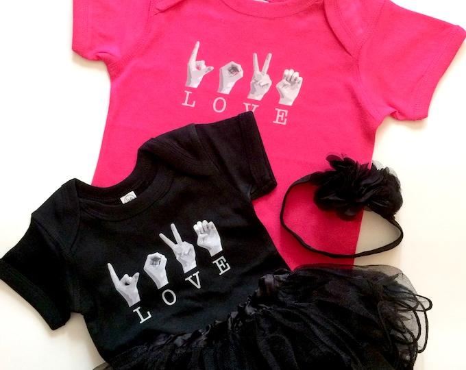 ASL Baby LOVE Onesie - American Sign Language - Rabbit Skins Cotton - Pink and Black - 6 mos. 12 mos.  24 mos. - DTG printed