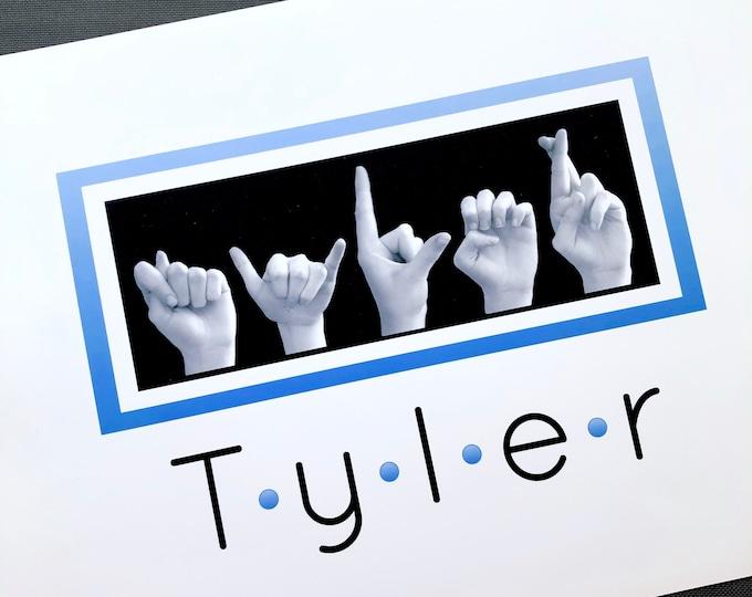 Blue Polka Dot - ASL Alphabet NAME Sign Language Personalized 5x7 Print in 8x10 Mat - or 8x10 Print - plus Digital Image - Custom Order