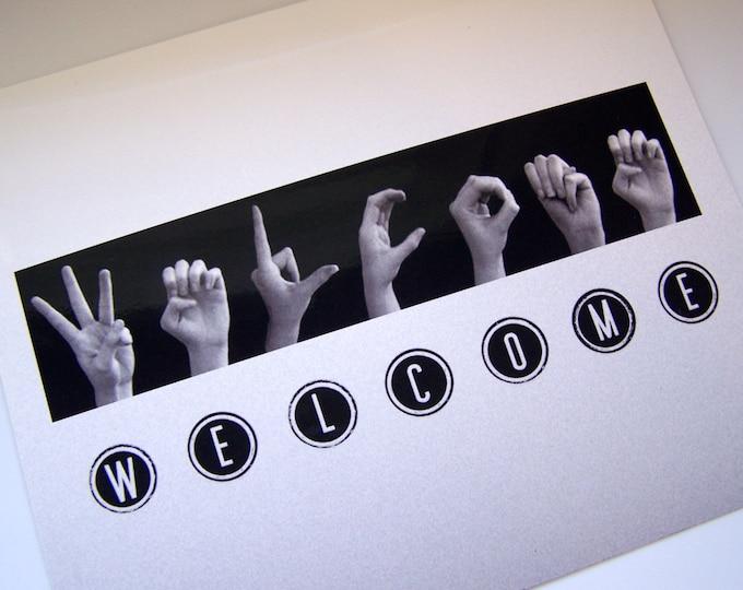 WELCOME sign - ASL Sign Language Letters - Black & White Typewriter Keys - 8x10 Photo Print ready for DIY framing