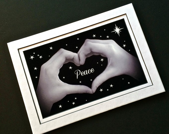 PEACE on EARTH Heart Hands - Black & White Photo - 5x7 - Matted Print - Holiday and New Year's Gift