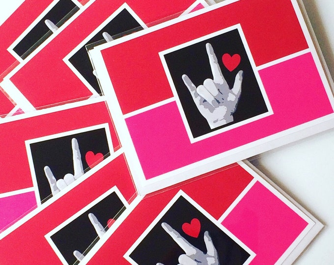 ASL I LOVE You Valentine Heart - American Sign Language - Red and Pink blank notecard or I Love You message