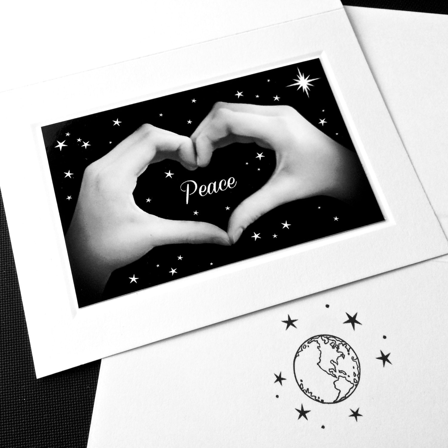 Peace on earth heart hands sign language card black white photo peace on earth heart hands sign language card black white photo holiday and new years card individual greeting cards and boxed sets m4hsunfo