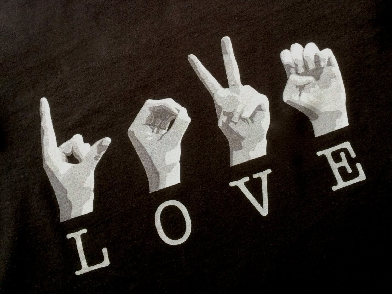 Black Asl Love Tee Shirt American Sign Language Cotton T Etsy