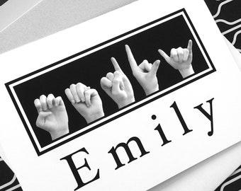 ASL Sign Language Letters NAME - Black & White Photograph plus Digital File - Custom Order