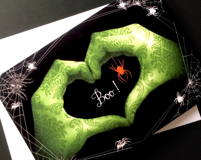 HALLOWEEN Heart Hands Card - LOVE Sign Language - 5x7 - Suitable for Framing
