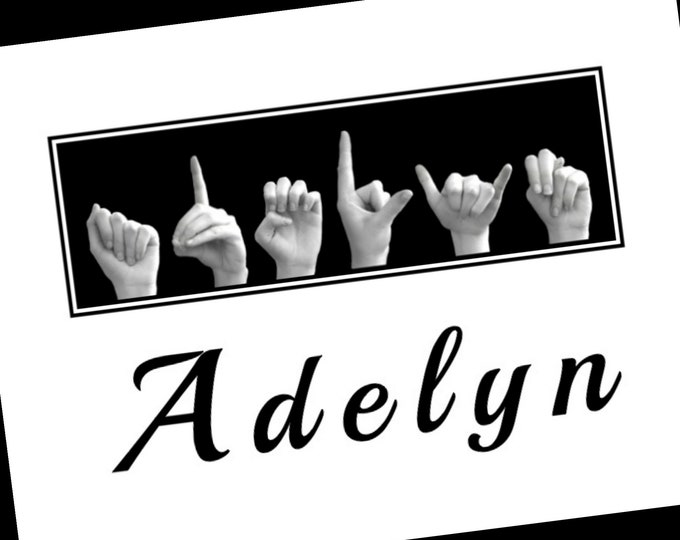 ASL Alphabet NAME Sign Language - Personalized Print plus Digital Image - Custom Orders