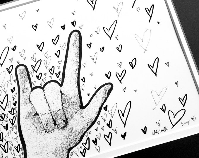 ASL I Love You Heart Art Coloring Page by Ashley Shaffer & Emily Maxwell - 8 by 10 Print for DIY Framing or Coloring with Markers - Pencils