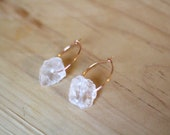 Clear Quartz Earrings with Rose Gold Hoop