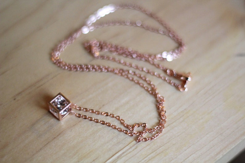 Rose Gold Cubic Zirconia Necklace image 0