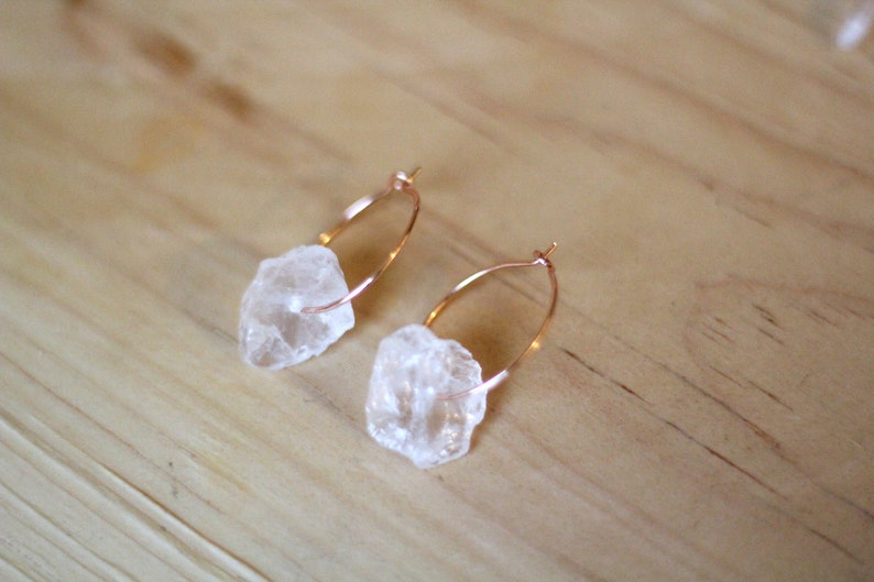 Clear Quartz Earrings with Rose Gold Hoop image 0