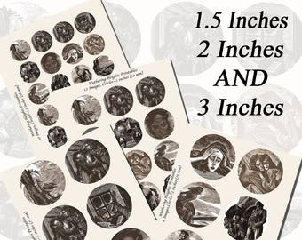 Wuthering Heights Printables by Fritz Eichenberg, EXTRA LARGE CIRCLES, 1.5 inch, 2 inch, and 3 inch circles (38mm, 50mm, and 75 mm)