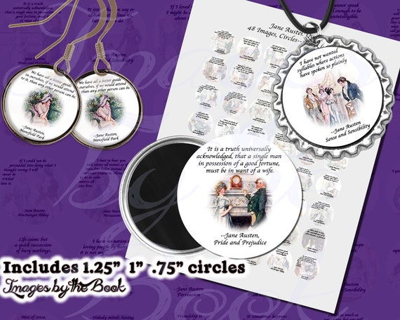 Jane Austen Quotes Part 2 Digital Collage Sheets ONE INCH CIRCLES 25mm with 1 25 inch size included