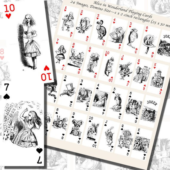 Lewis Carrolls Alice In Wonderland Playing Card Etsy