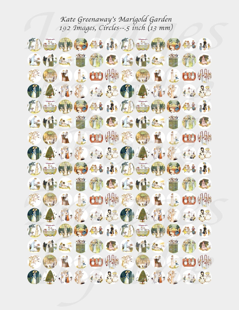 Digital Collage Sheets ONE INCH CIRCLES 25mm Victorian Children Playing with 1.25 inch size included