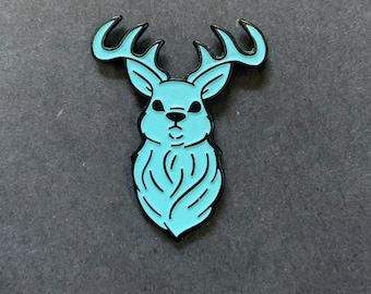 Glow-in-the-dark cryptid ghost deer/ stag soft enamel pin