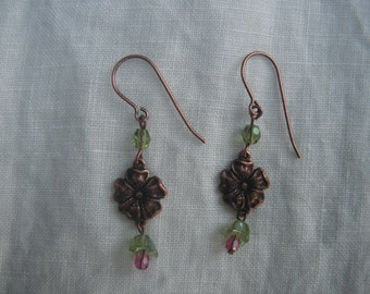 Antique copper flower with tiny dangle of glass beads