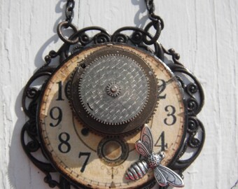 Steampunk Inspired Clock and Bee Necklace